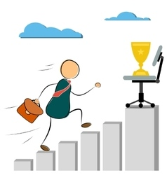 Businessman run to success cup vector