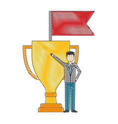 businessman with trophy and flag success vector image