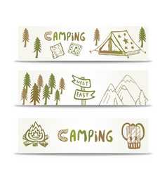 Camping banners horizontal set with mountain and vector