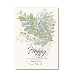 Card with beautiful twigs with leaves wedding vector