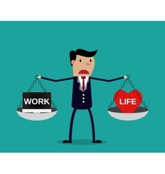 Cartoon businessman balancing Work and life vector