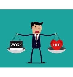 Cartoon businessman balancing work and life vector