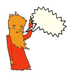 Cartoon fire spirit with speech bubble vector