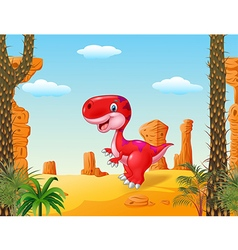 Cartoon happy dinosaur with desert background vector image