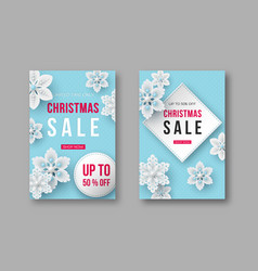 christmas sale posters with decorative snowflakes vector image