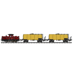 Classic diesel locomotive and tank wagons vector
