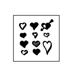 collection of black hand drawn hearts vector image