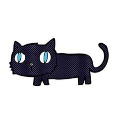 Comic cartoon black cat vector