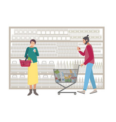 Concept for supermarket or shop people with vector