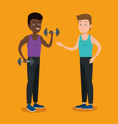 couple athletes practicing sports vector image