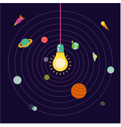 creative space light lamp in the center vector image