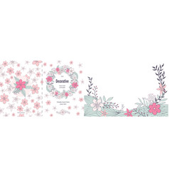 Cute floral two sided greeting card template vector