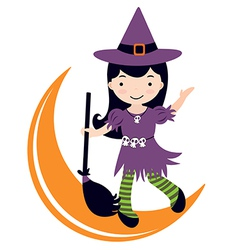 Cute witch dancing on moon vector image