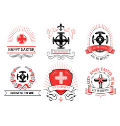 Easter crucifix cross for paschal greeting vector