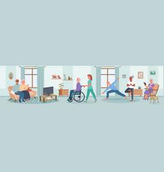 Elderly people care in nursing home happy senior vector