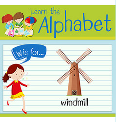 Flashcard letter W is for windmill vector