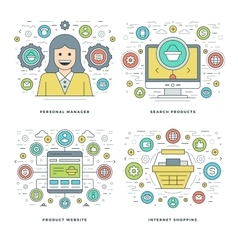 Flat line Manager Search Products Shopping vector