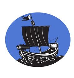Galleon tall ship sailing sea vector
