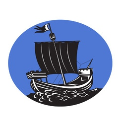 Galleon tall ship sailing the sea vector