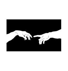 God and adams hands creation of human genesis vector