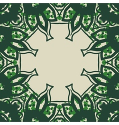Green stylized ornate frame card in arabic style vector image