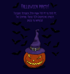 Halloween poster with jack lantern vector