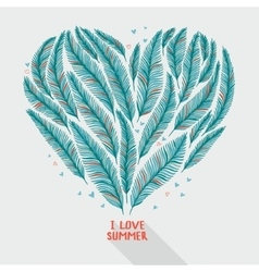 Hand drawn palm leaves in shape of heart vector