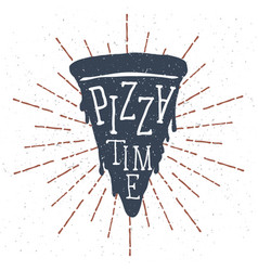 Hand drawn pizza slice with pizza time lettering vector