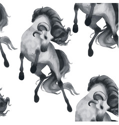 hand drawn rearing horse with ram horns vector image