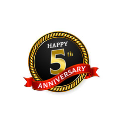 happy 5 years golden anniversary logo celebration vector image