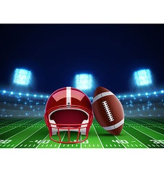 Helmet ball and american football field eps 10 vector