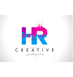 Hr h r letter logo with shattered broken blue vector