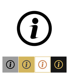 Info icon information round symbol on gold and vector