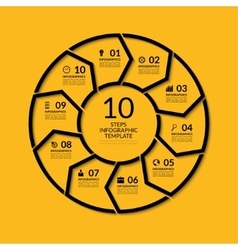 Infographic circle template with 10 steps vector image