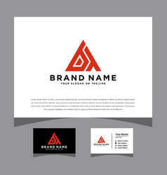 Initials bt logo with a business card vector