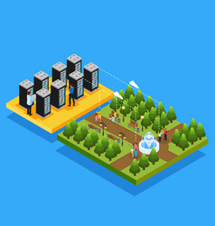 isometric datacenter hosting servers concept vector image