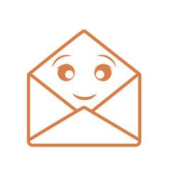 kawaii open envelope icon vector image