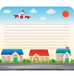 Line paper design with airplane and houses vector