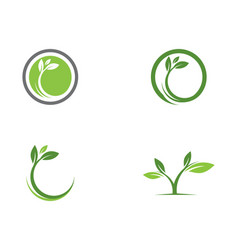 Logos of green tree leaf ecology nature vector