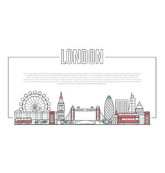 london landmark panorama in linear style vector image