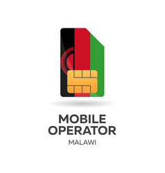 Malawi mobile operator sim card with flag vector