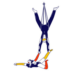 Male and female aerial acrobats characters hanging vector