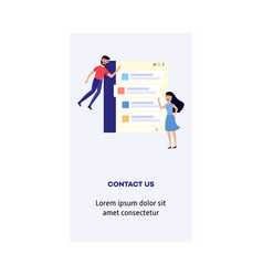 Man and woman with contact us form - smiling flat vector