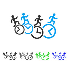 Men running over clocks flat icon vector