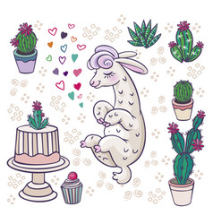 mexican alpaca llamas and desert plants set vector image