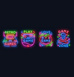 Neon game signs retro video games zone player vector