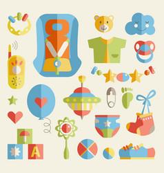 Newborn infant themed cute flat set baby care vector