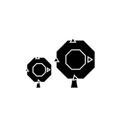 oak tree black icon concept oak tree sig vector image