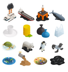 ocean pollution isometric icons vector image