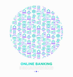 online banking concept in circle with line icons vector image